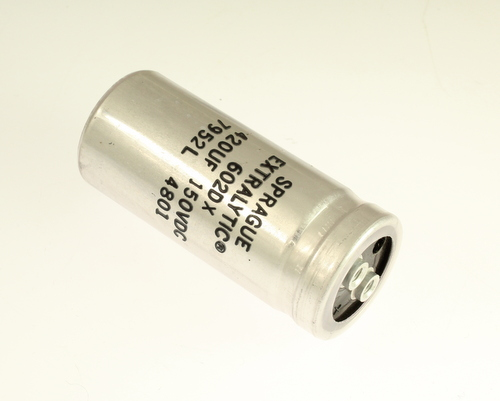 Picture of 602DX427F150AB24 SPRAGUE capacitor 420uF 150V Aluminum Electrolytic Large Can Computer Grade