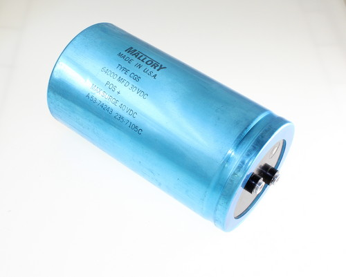 Picture of CGS643U030X5L MALLORY capacitor 64,000uF 30V aluminum electrolytic large can computer grade