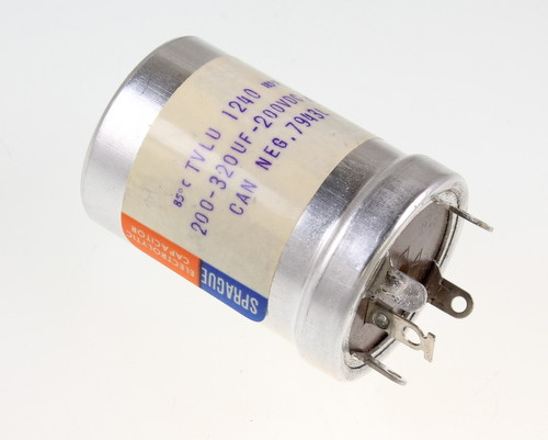 Picture of TVLU-1240 SPRAGUE capacitor 200uF 200V Aluminum Electrolytic Large Can Twist Lock