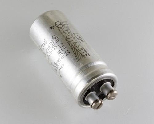 Picture of UFH272-40 Cornell Dubilier (CDE) capacitor 2,700uF 50V Aluminum Electrolytic Large Can Computer Grade