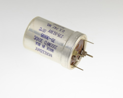 Picture of TL202P30V35X52-S Mallory capacitor 2,000uF 30V Aluminum Electrolytic Large Can Twist Lock