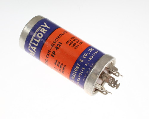 Picture of FP-421 MALLORY capacitor 5uF 400V Aluminum Electrolytic Large Can Twist Lock