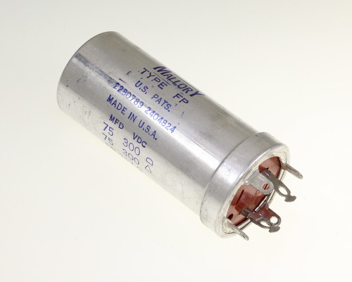 Picture of FP-217.9 MALLORY capacitor 75uF 300V Aluminum Electrolytic Large Can Twist Lock