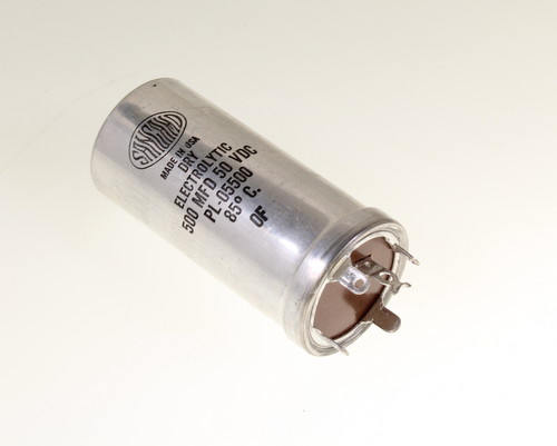 Picture of PL-05500 SANGAMO capacitor 500uF 50V Aluminum Electrolytic Large Can Twist Lock