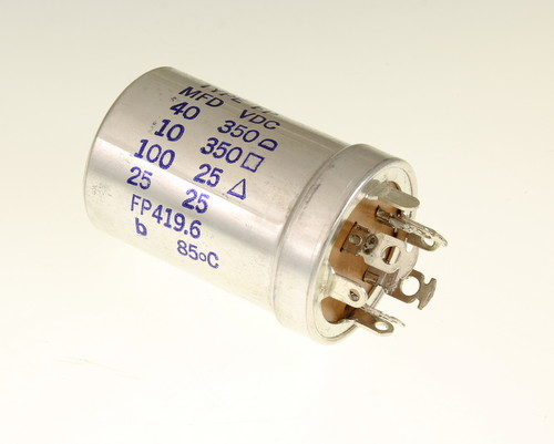 Picture of FP419.6 MALLORY capacitor 40uF 350V Aluminum Electrolytic Large Can Twist Lock