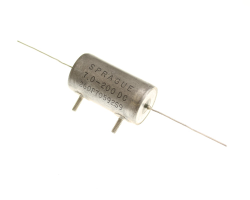 Picture of 260P70592S9 SPRAGUE capacitor 7uF 200V oil HERMETICALLY SEALED Axial