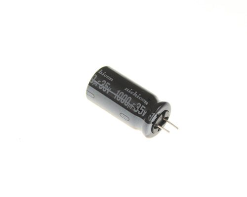 Picture of UHE1V102MH2 NICHICON capacitor 1,000uF 35V aluminum electrolytic radial high temp