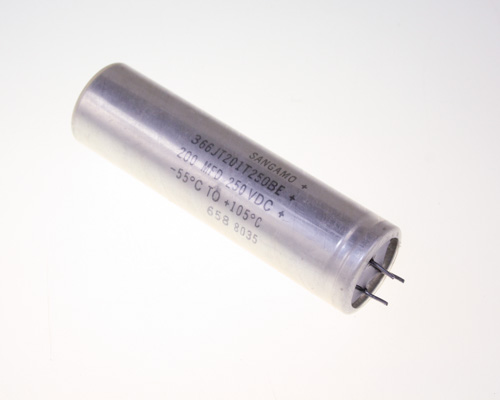 Picture of 366JT201T250BE SANGAMO-CDE capacitor 200uF 250V aluminum electrolytic radial high temp