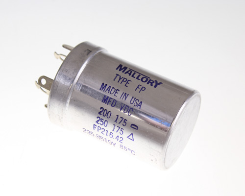 Picture of FP216.42 MALLORY capacitor 200uF 175V aluminum electrolytic large can twist lock