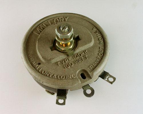 Picture of R2500-100-1/2X1/8L-S MALLORY potentiometer 2.5 kOhm, 100W RHEOSTAT 100 Watt