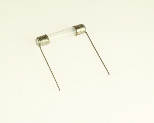 Picture of radial leads 0.25x1.25in fast acting fuses.