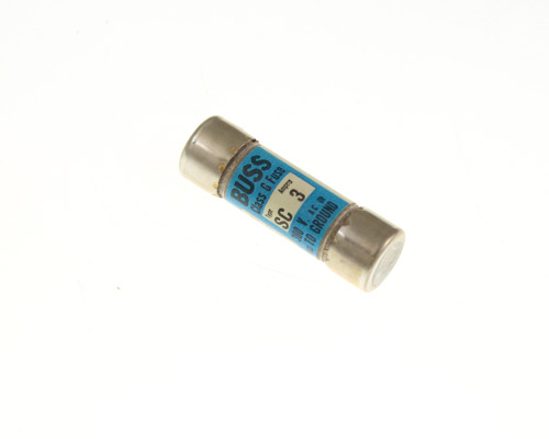 Picture of SC3 EATON BUSSMANN fuse 3A 300V cartridge 0.4x1.31in fast acting